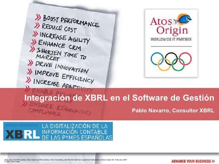 Integración de XBRL en el Software de Gestión Pablo Navarro, Consultor XBRL