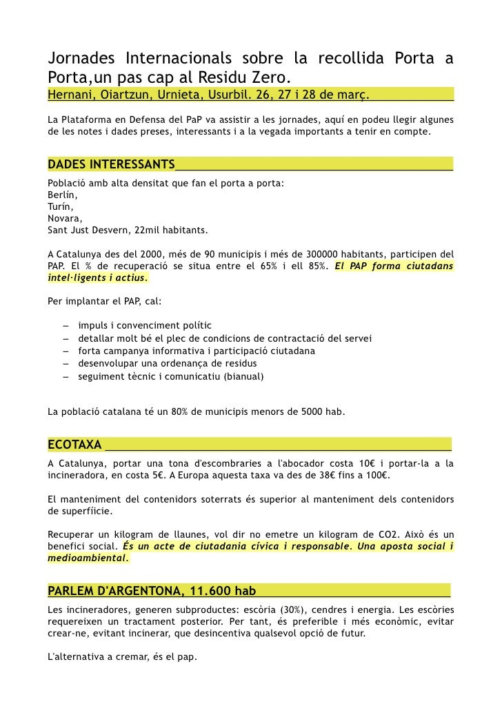 Jornades Internacionals sobre la recollida Porta a Porta,un pas cap al Residu Zero. Hernani, Oiartzun, Urnieta, Usurbil. 2...