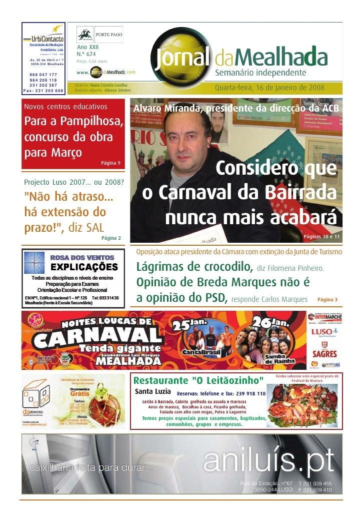 Jornal da Mealhada - n.º 674 – 16.01.2008