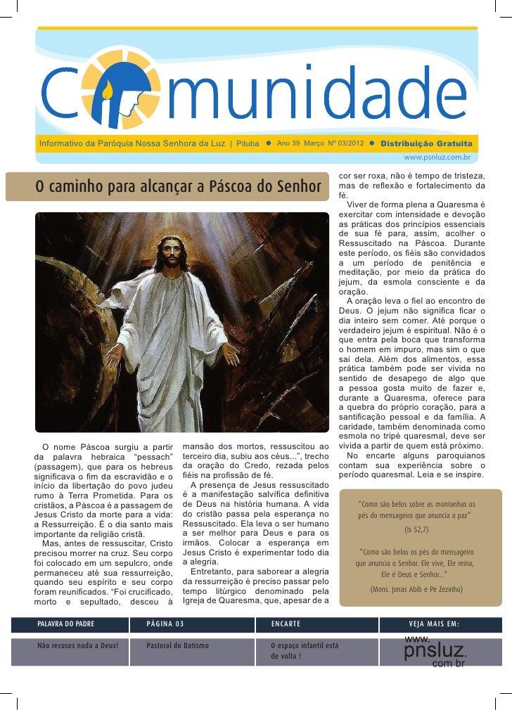 Jornal da Comunidade - Paróquia Nossa Senhora da Luz - Março de 2012