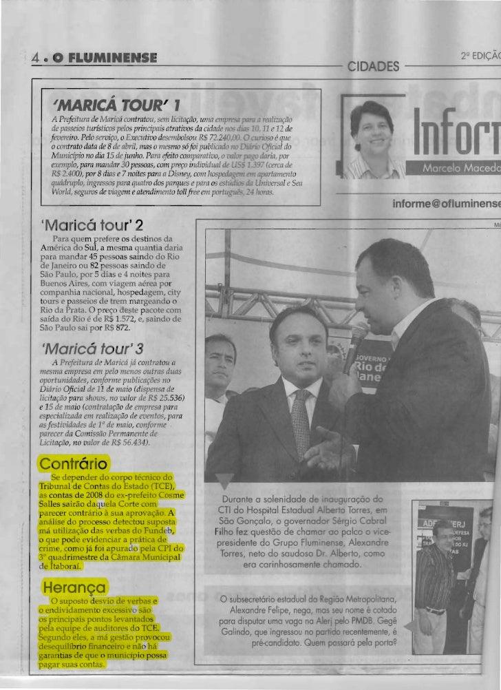 Contas de Cosme Salles de 2008 sairão com Parecer Contrário do TCE