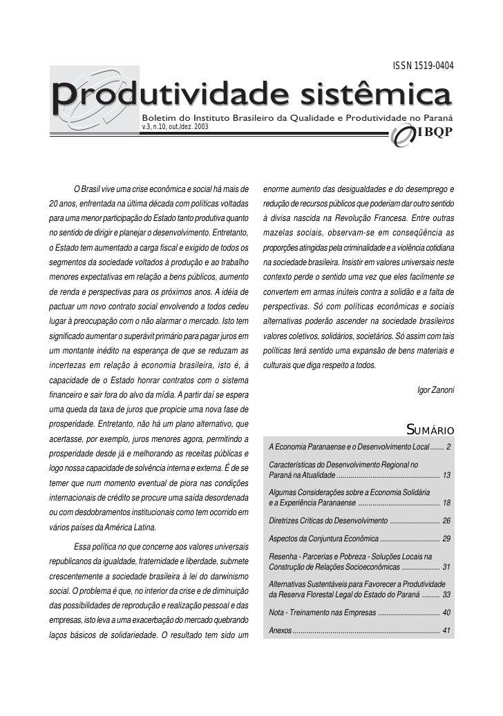 ISSN 1519-0404produtividade sistêmica      Boletim do Instituto Brasileiro da Qualidade e Produtividade no Paraná         ...