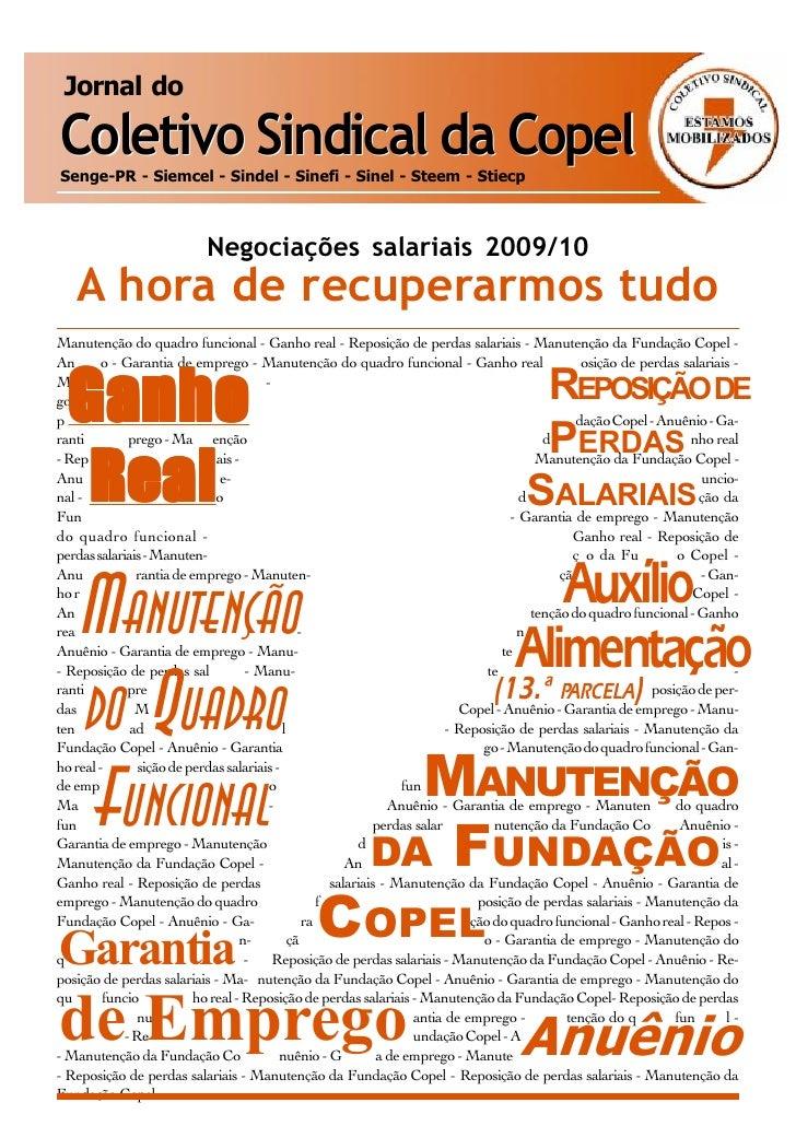 Jornal do  Coletivo Sindical da Copel Senge-PR - Siemcel - Sindel - Sinefi - Sinel - Steem - Stiecp                       ...