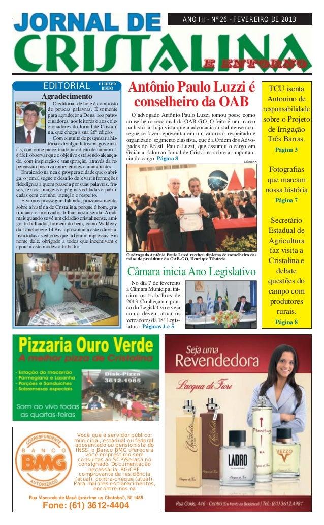 Fevereiro de 2013                                          JORNAL DE CRISTALINA                                           ...