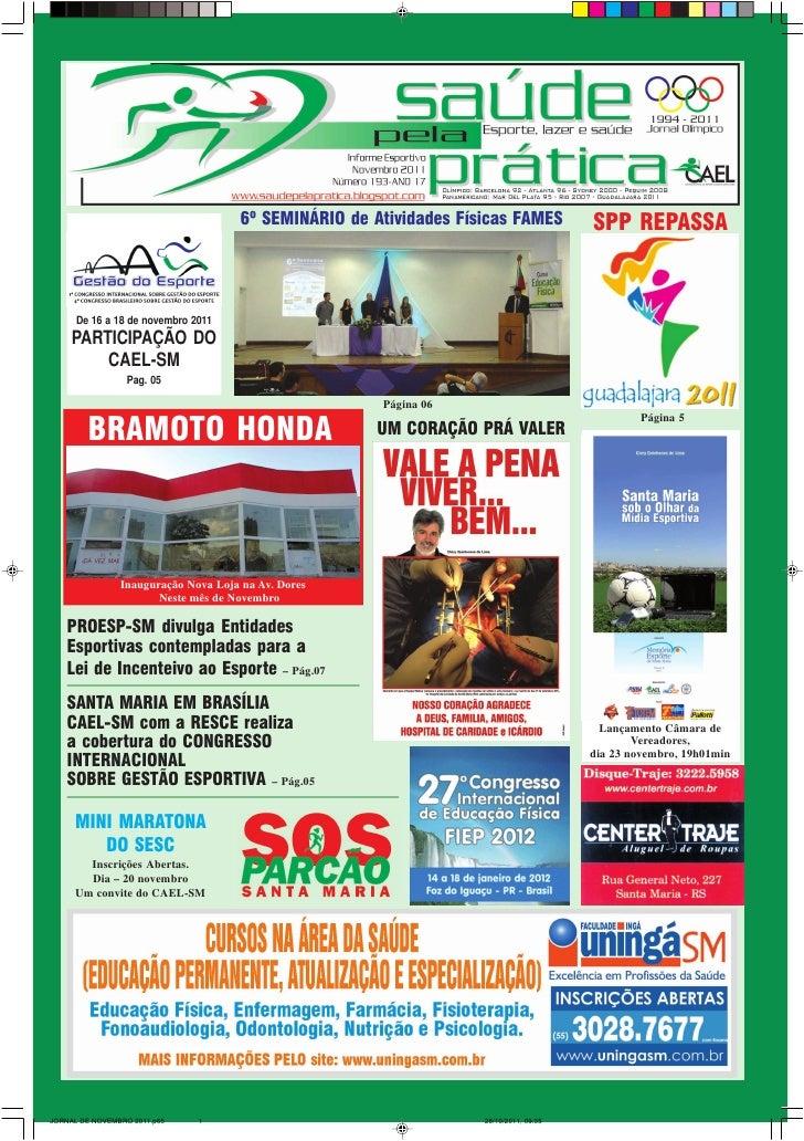 6º SEMINÁRIO de Atividades Físicas FAMES          SPP REPASSA      De 16 a 18 de novembro 2011     PARTICIPAÇÃO DO        ...