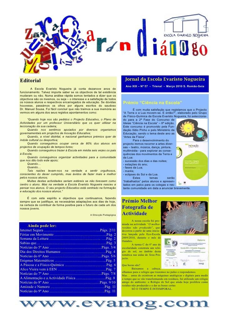 Editorial                                                                     Jornal da Escola Evaristo Nogueira          ...