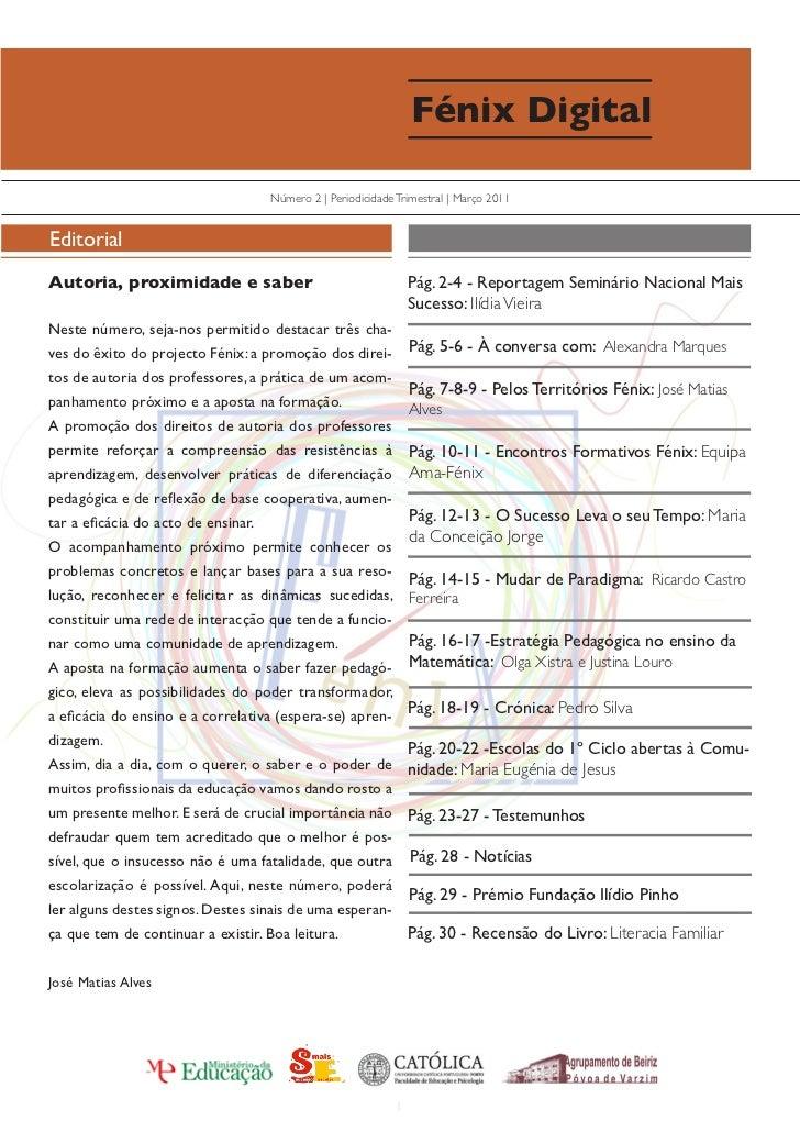 Fénix Digital                                     Número 2 | Periodicidade Trimestral | Março 2011EditorialAutoria, proxim...