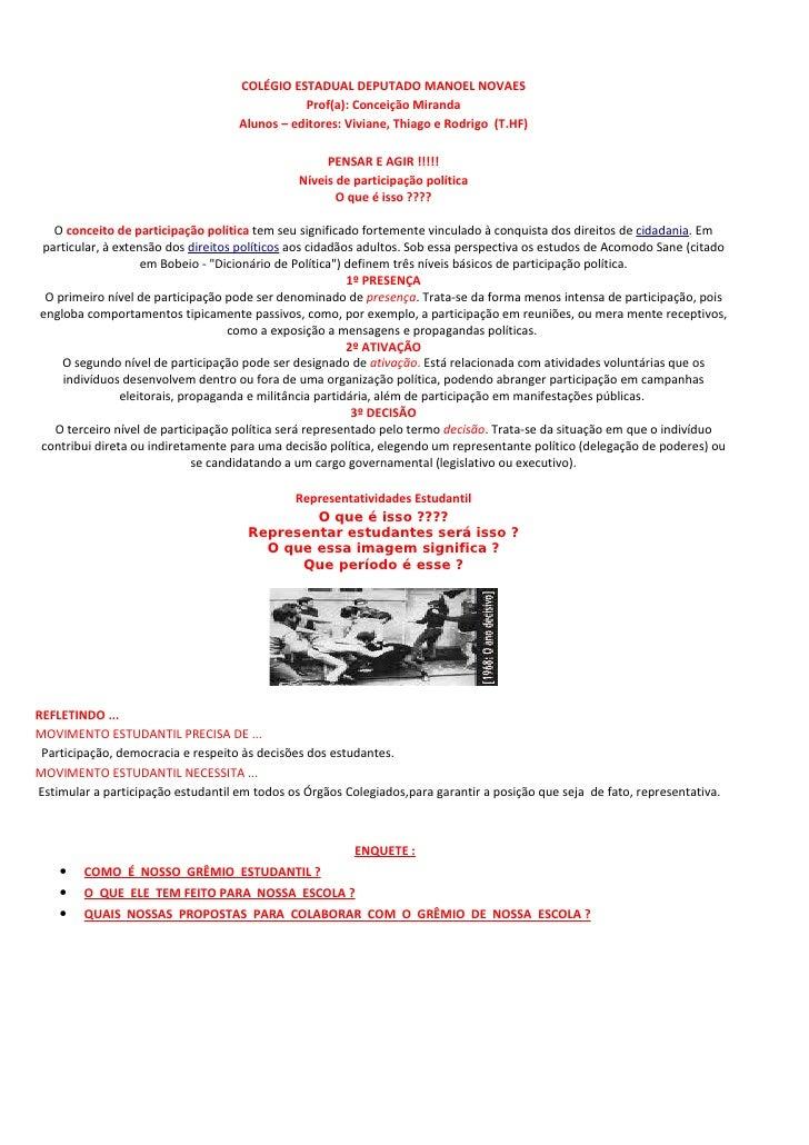 COLÉGIO ESTADUAL DEPUTADO MANOEL NOVAES                                                Prof(a): Conceição Miranda         ...