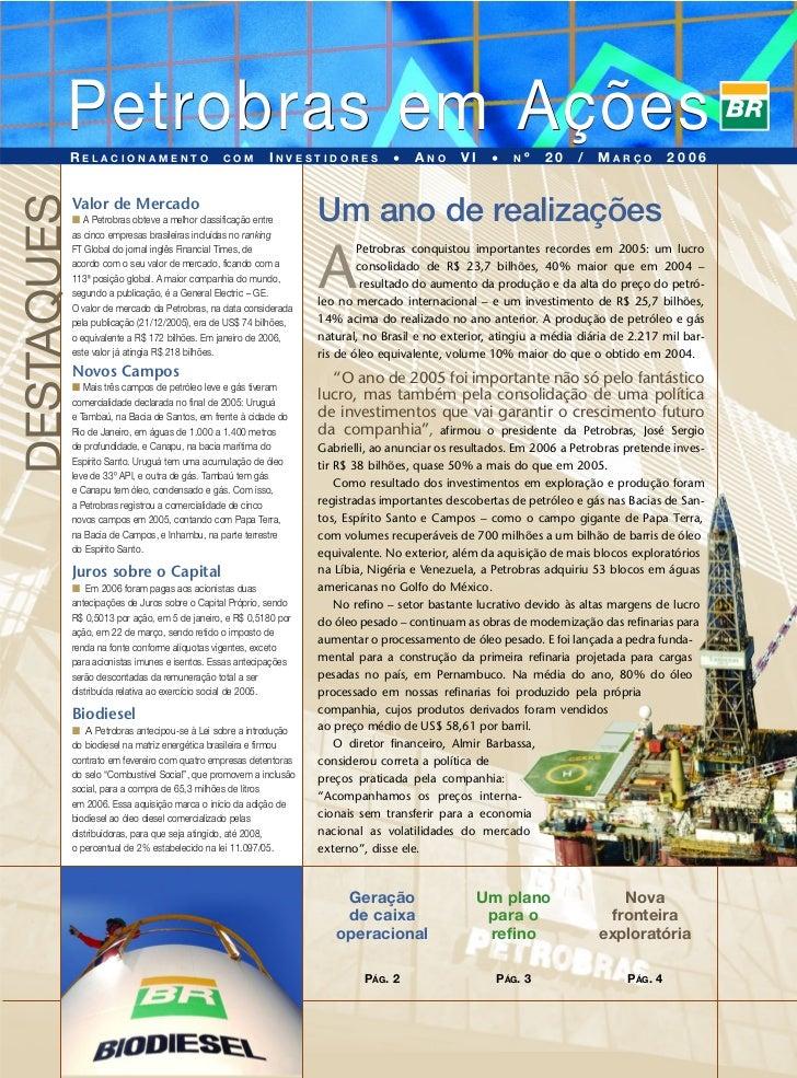Edição 20 - Petrobras em Ações - n° 01/2006