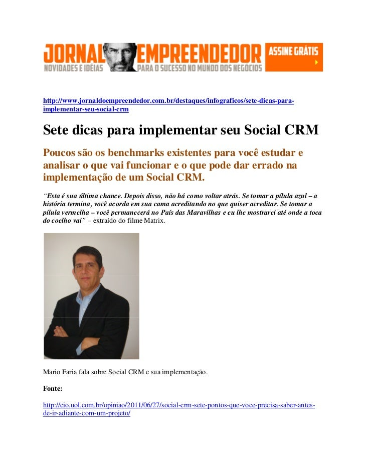 Jornal do empreendedor - Sete dicas para implementar seu Social CRM