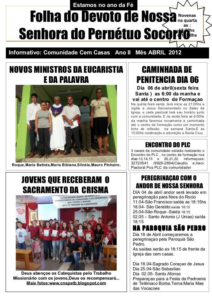 Estamos no ano da Fé     Folha do Devoto de Nossa                                                             Novenas     ...