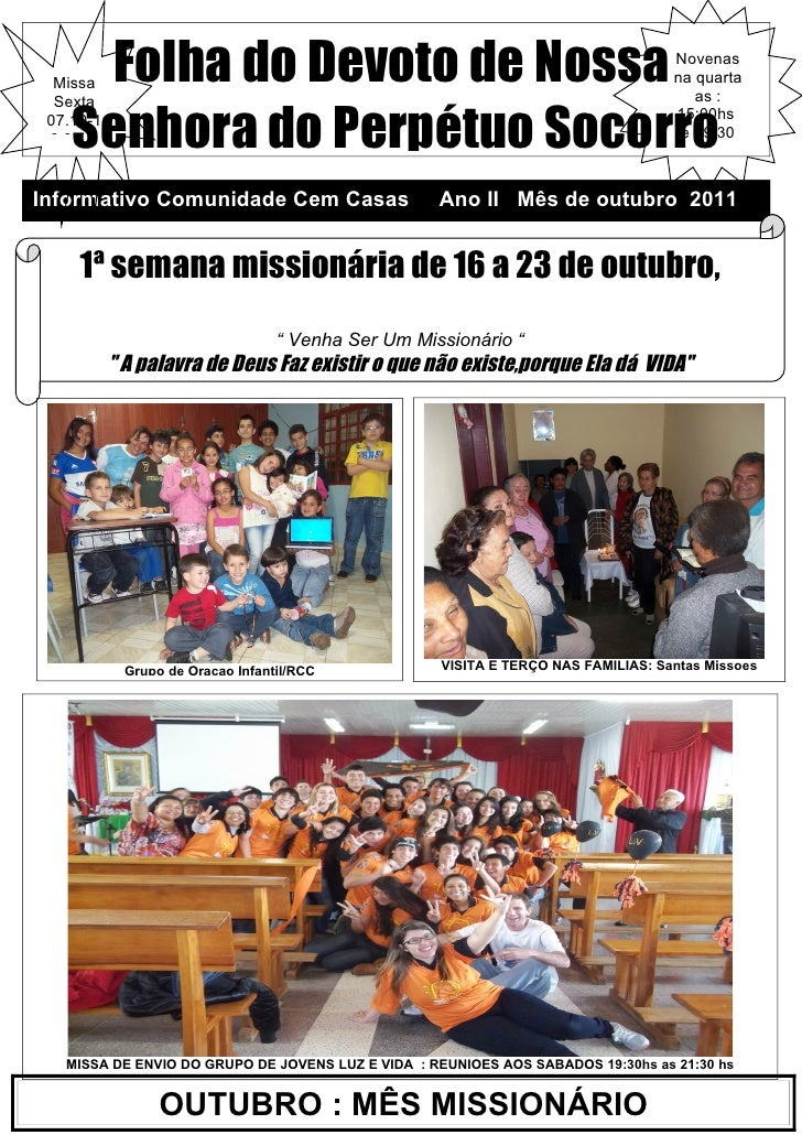 Folha do Devoto de Nossa  Missa  Sexta                                                                                   N...