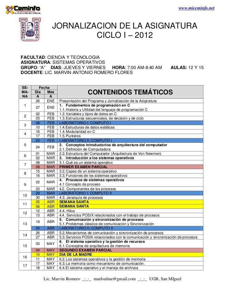 www.miceminfo.net               JORNALIZACION DE LA ASIGNATURA                        CICLO I – 2012FACULTAD: CIENCIA Y TE...