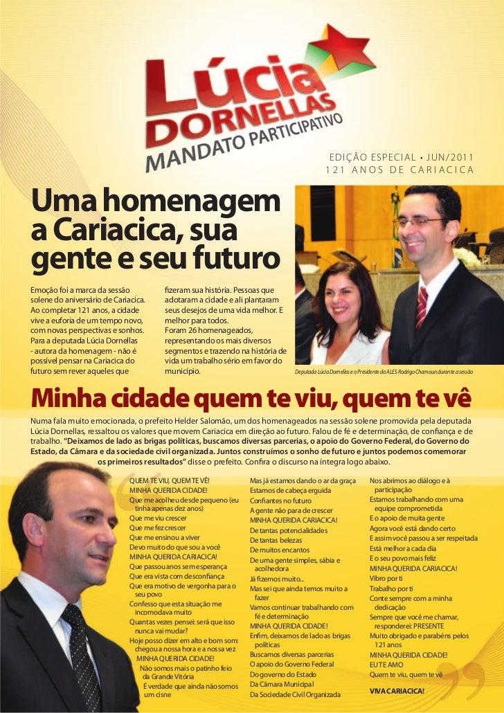 Jornal - Deputada Lúcia Dornellas - Cariacica 121 anos