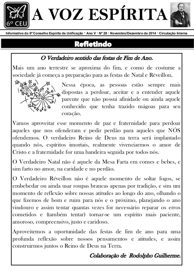 Boletim A Voz Espírita - Nº 28 - Bimestre Novembro/Dezembro de 2014