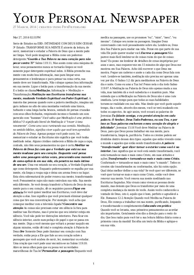Your Personal Newspaper27 March, 2014 | created using FiveFilters.org Mar 27, 2014 02:51PM Serie de Estudos na EBD: INTIMI...