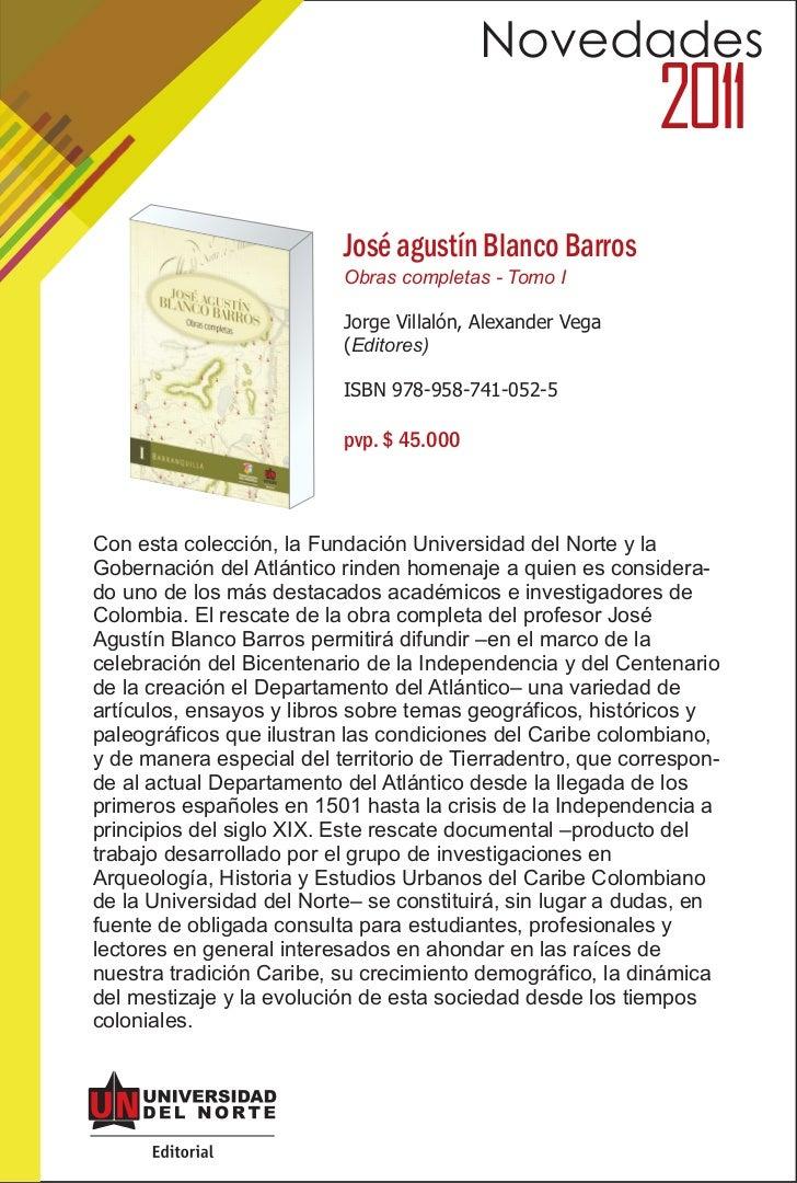 Novedades                                                            2011                          José agustín Blanco Bar...