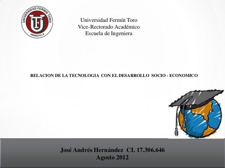 Universidad Fermín Toro                 Vice-Rectorado Académico                    Escuela de IngenieraRELACION DE LA TEC...