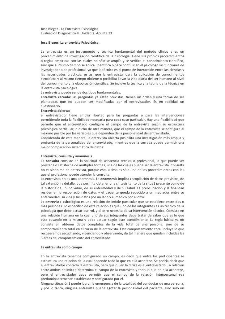 Jose Bleger - La Entrevista Psicológica Evaluación Diagnostica II. Unidad 2. Apunte 13  Jose Bleger: La entrevista Psicoló...