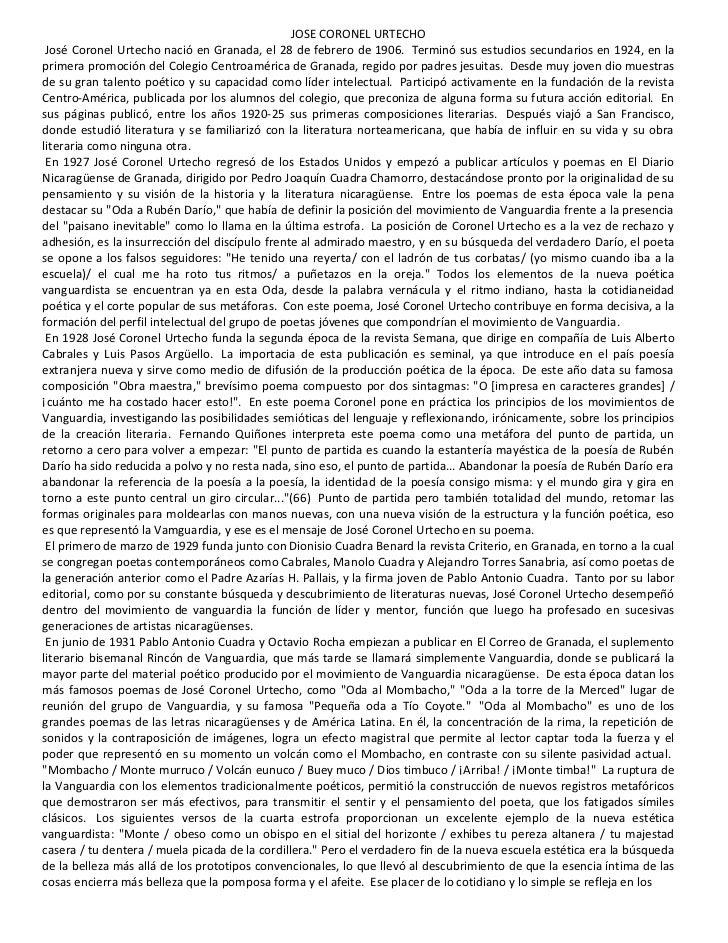 JOSE CORONEL URTECHO José Coronel Urtecho nació en Granada, el 28 de febrero de 1906. Terminó sus estudios secundarios en ...