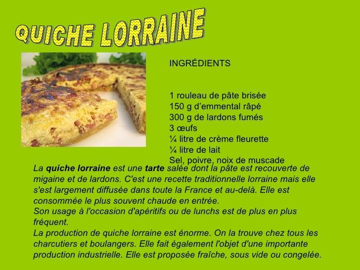 QUICHE LORRAINE INGRÉDIENTS  1 rouleau de pâte brisée  150 g d'emmental râpé 300 g de lardons fumés 3 œufs ¼ litre de crèm...