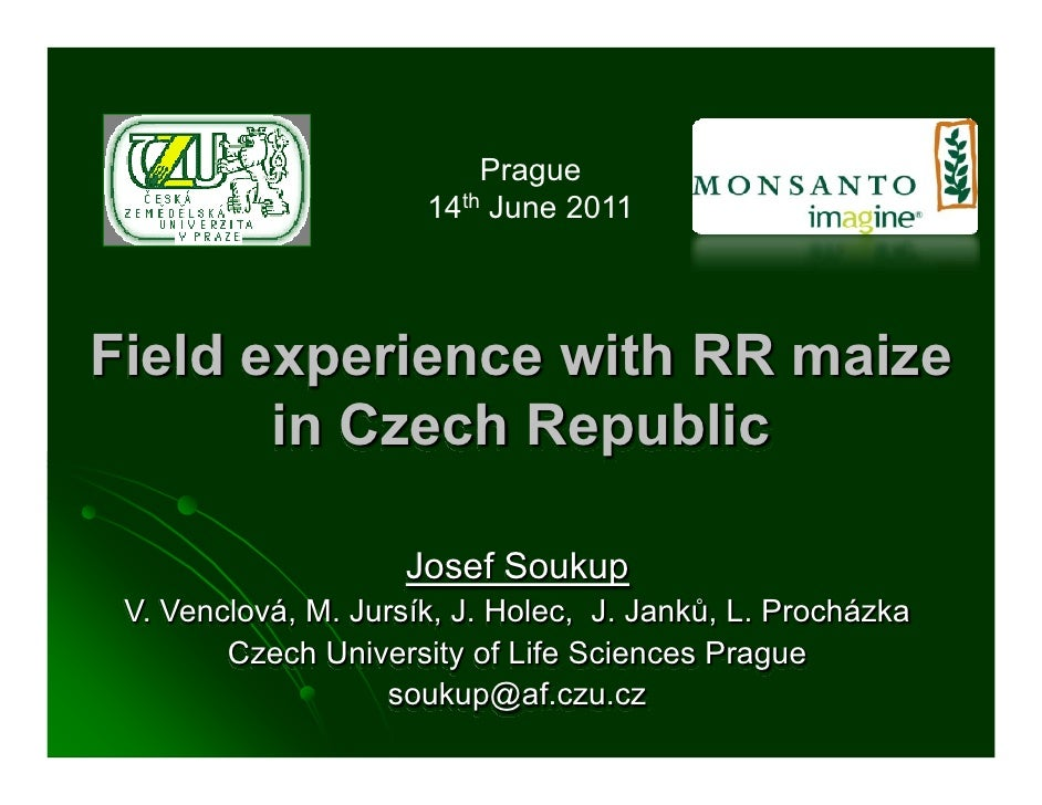Prague                      14th June 2011Field experience with RR maize       in Czech Republic                     Josef...
