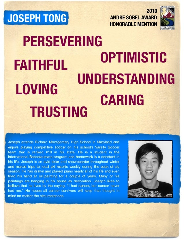 2010 ANDRE SOBEL AWARD HONORABLE MENTION JOSEPH TONG PERSEVERING OPTIMISTIC FAITHFUL UNDERSTANDING LOVING CARING TRUSTING ...