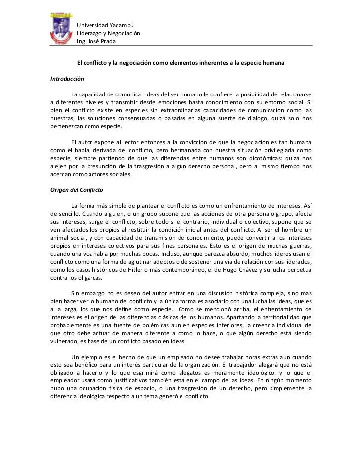 Jose prada ensayo acerca de la experiencia del curso de negociacion
