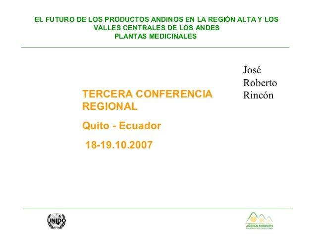 EL FUTURO DE LOS PRODUCTOS ANDINOS EN LA REGIÓN ALTA Y LOS VALLES CENTRALES DE LOS ANDES PLANTAS MEDICINALES TERCERA CONFE...