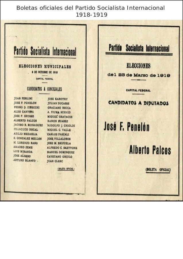 Boletas oficiales del Partido Socialista Internacional                      1918-1919