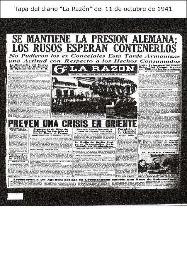 """Tapa del diario """"La Razón"""" del 11 de octubre de 1941"""
