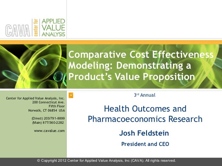 Comparative Cost Effectiveness Modeling: Demonstrating a Product's Value Proposition 3 rd  Annual  Health Outcomes and Pha...