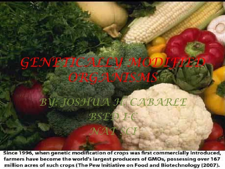 GENETICALLY MODIFIED ORGANISMS<br />BY: JOSHUA H. CABARLE <br />BSED I-C<br />NAT SCI<br />