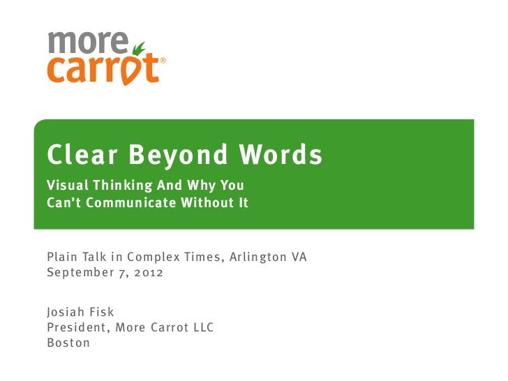 Clear Beyond WordsVisual Thinking And Why YouCan't Communicate Without ItPlain Talk in Complex Times, Arlington VASeptembe...