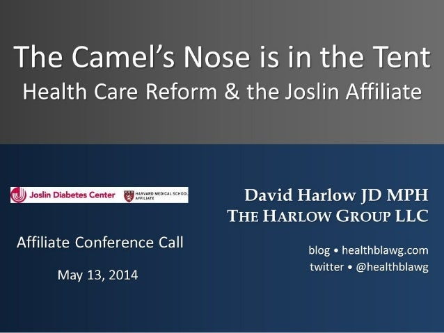 The Camel's Nose is in the Tent: Health Care Reform & the Joslin Affiliate
