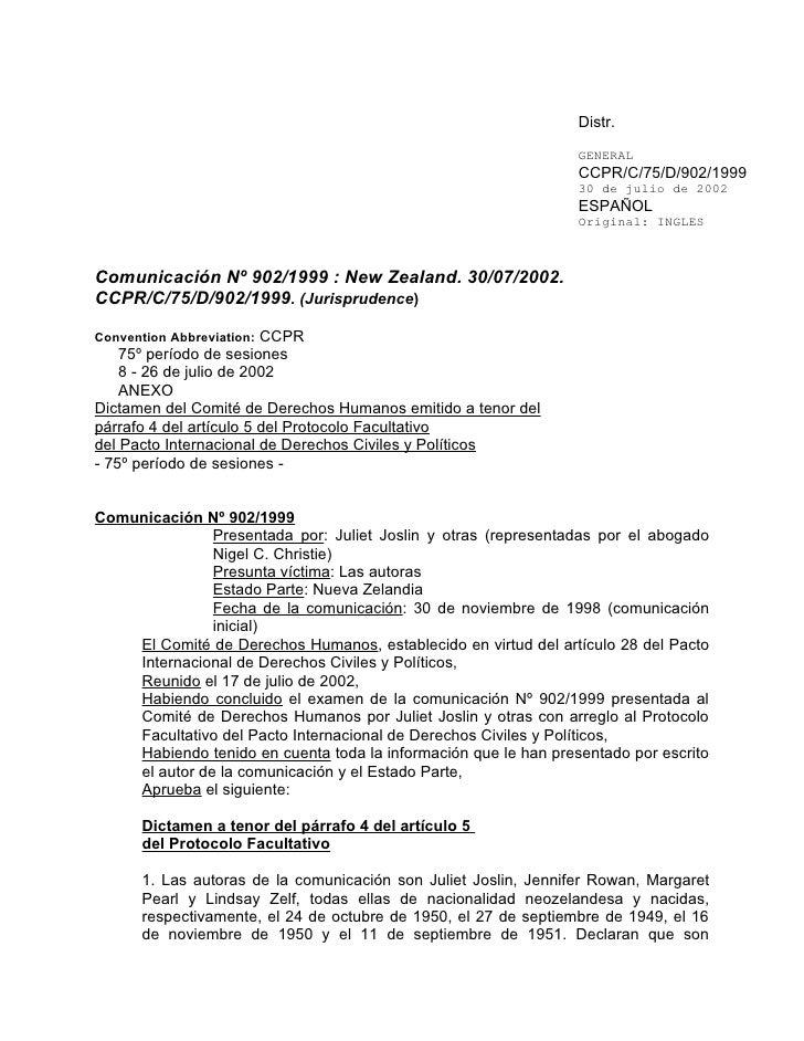 Joslin Vs Nueva Zelanda Matrimonio Discriminacion