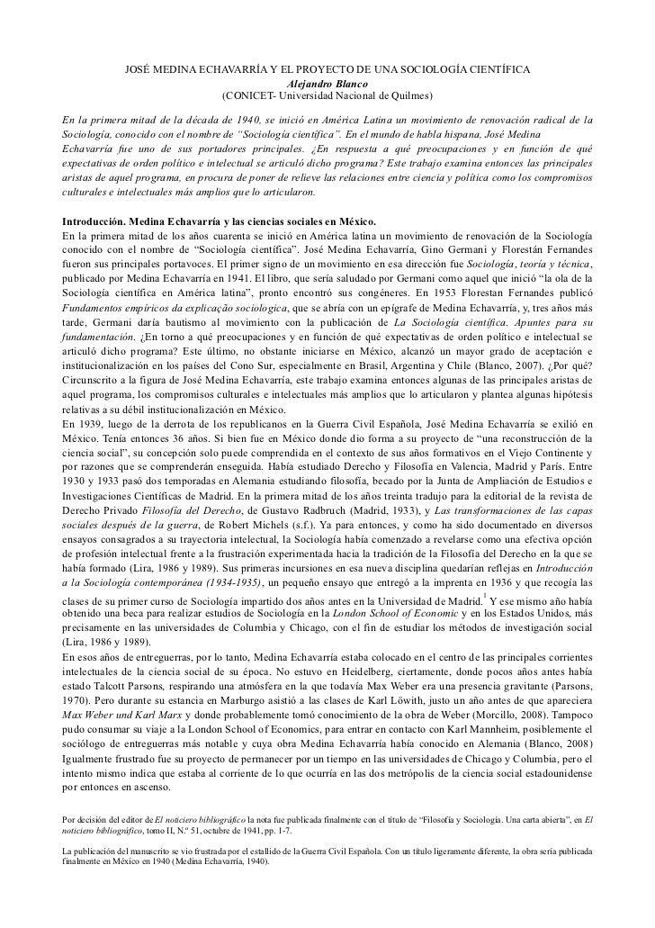 JOSÉ MEDINA ECHAVARRÍA Y EL PROYECTO DE UNA SOCIOLOGÍA CIENTÍFICA                                            Alejandro Bla...