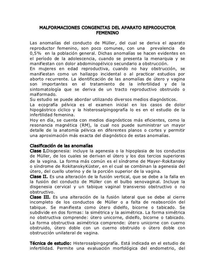 MALFORMACIONES CONGENITAS DEL APARATO REPRODUCTOR                        FEMENINOLas anomalías del conducto de Müller, del...