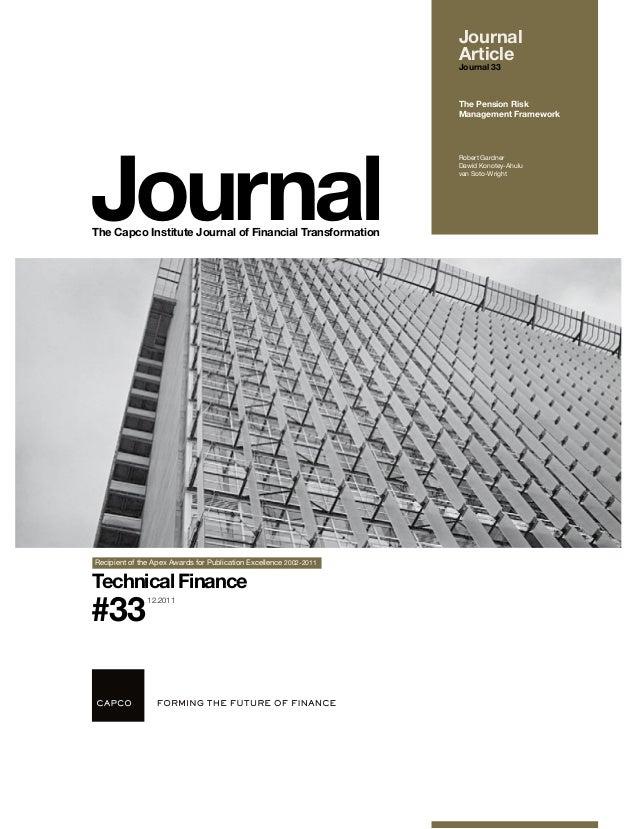 Journal- The Pension Risk Management Framework