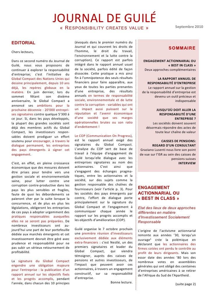 JOURNAL DE GUILÉ                                 « R ESPONSIBILITY              CREATES VALUE              »              ...