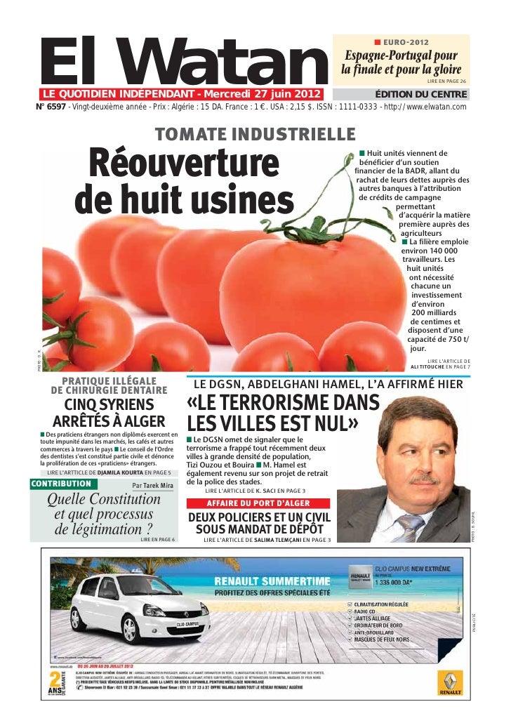 Journal   el watan du 27.06.2012