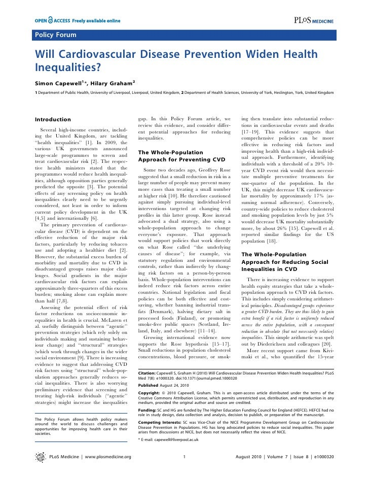 Policy Forum  Will Cardiovascular Disease Prevention Widen Health Inequalities? Simon Capewell1*, Hilary Graham2 1 Departm...