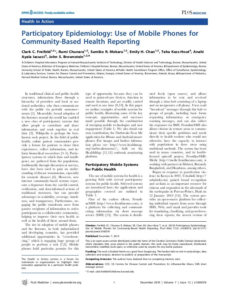 Health in Action Participatory Epidemiology: Use of Mobile Phones for Community-Based Health Reporting