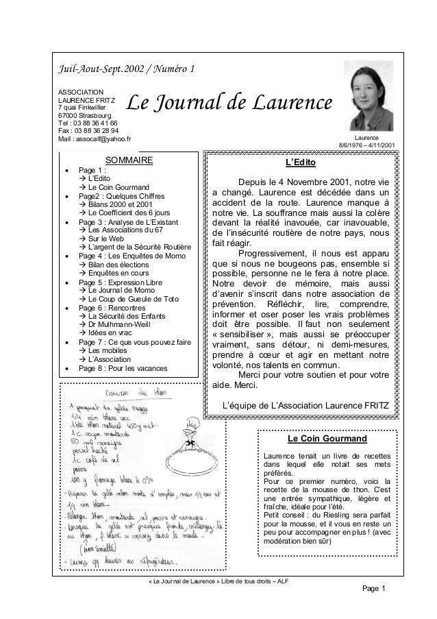 « Le Journal de Laurence » Libre de tous droits – ALF Page 1 SOMMAIRE • Page 1 : L'Edito Le Coin Gourmand • Page2 : Quelqu...