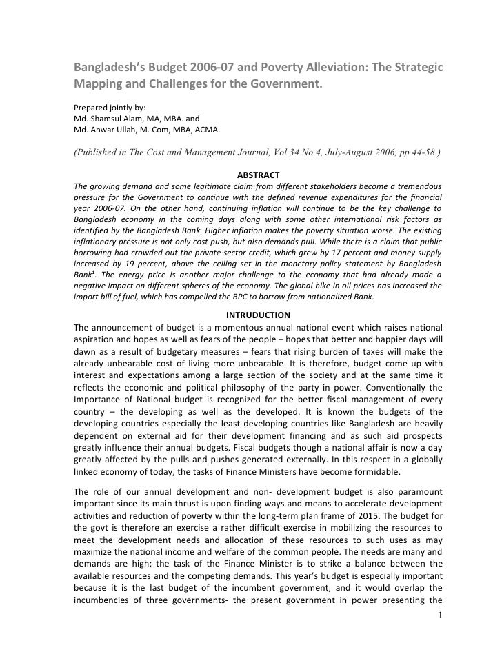 Bangladesh's Budget 2006-07 and Poverty Alleviation: The Strategic Mapping and Challenges for the Government. Prepared joi...