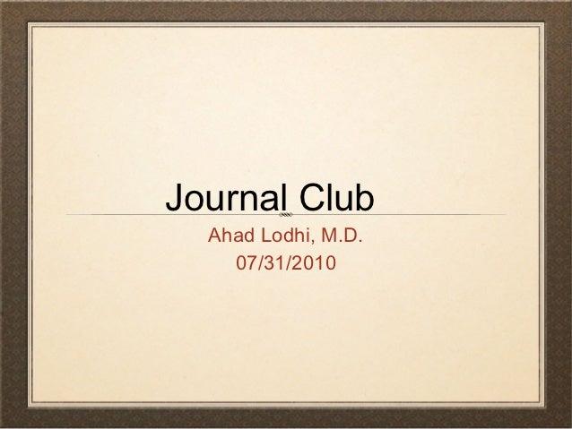 Journal club 72010