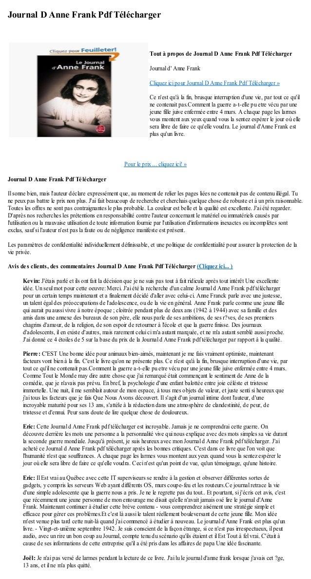 Journal d anne frank pdf telecharger