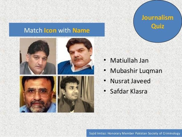 Match Icon with Name  Journalism  Quiz  • Matiullah Jan  • Safeer Hussain Shah  • Nusrat Javeed  • Mohammad Malick  Sajid ...