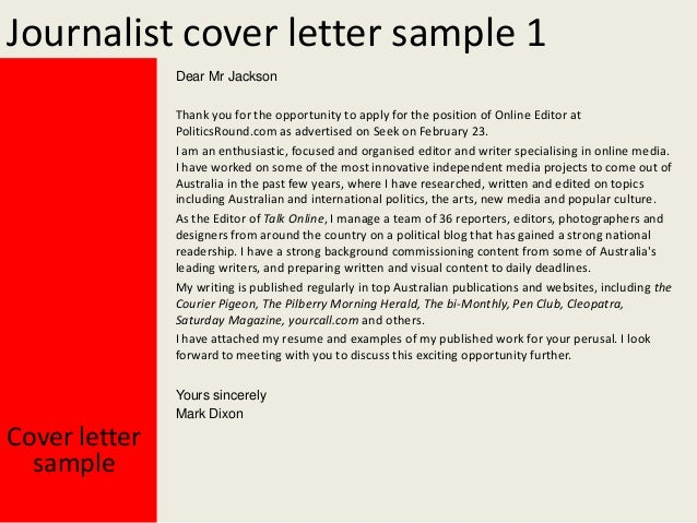 sample cover letters journalism jobs