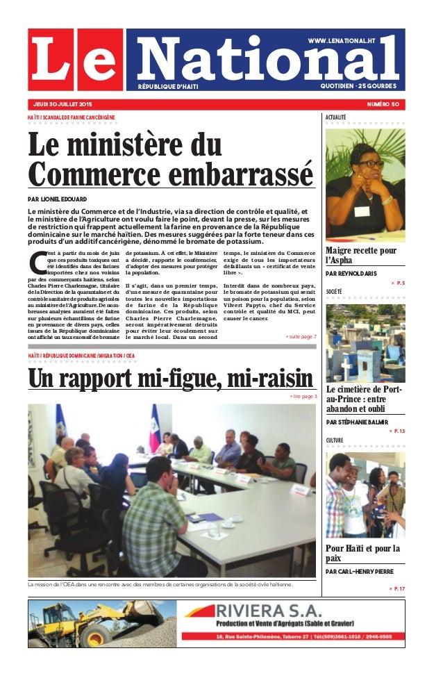 » P. 13 » P. 17 »  P. 5 SOCIÉTÉ CULTURE » suite page 7 » lire page 3 Pour Haïti et pour la paix par Carl-Henry PIERRE Le ...